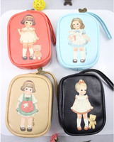 Wholesale Vintage style cute paper doll mate coin bag make up pouch Design FreeShipping