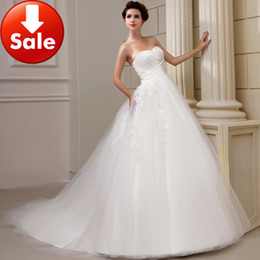 Wholesale Perfect White Sweetheart Lace Tulle Beading Train A line Bridal ball gowns Wedding dresses