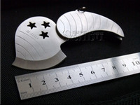 Wholesale Unique Silver Leaf shape fruit folding knife pocket gift hunting camping tools