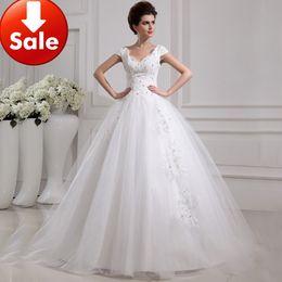 Wholesale 2013 White Ivory Portrait Tulle Appliques Beads Lace A line Chapel Train Wedding Dress