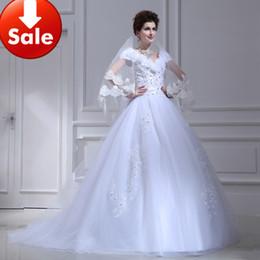 Wholesale 2013 Modest Portrait Tulle Appliques Beads Lace A line Chapel Train Wedding Dress