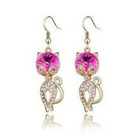 Wholesale New Arrival Crystal Cat Earrings Fashion pairs Colours