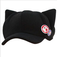 Wholesale Neon Genesis Evangelion cosplay Asuka Langley Soryu hat and badges EVA Cat Ear Polar Fleece Hat Peak