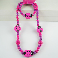 Jewelry Sets Fashion Yes Children Jewelry Wholesale 5 Sets Dark Pink Wood Cute Ladybud Beads Children's Necklace Bracelet Jew