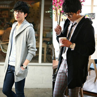 Wholesale Korean Style Solid Men s Sweater Cardigan Fashion Long Gray Black Casual Outwear Free Ship