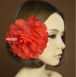 11 Colors Brital Hair Accessories Hairpins Brooch Big Peony Flowers Silk Yarn Celebrity 24pcs Lot