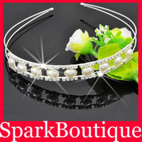 Wholesale Crystal Rhinestone Hairband Rhinsetone Simulated Pearl Tiaras Bridal Hairwear H1