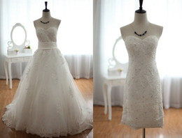 Wholesale Lace Tulle Wedding Dress Detachable Skirt Beaded Beading Knee length Short Lace Dress Strapless