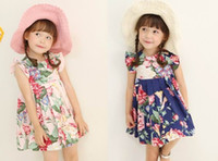 Wholesale Phelfish New Design Girls Dresses Kids Clothes Girl Printed Flower Summer Lady Dresses