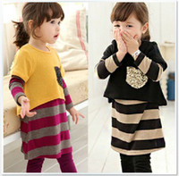 Wholesale children spring girls princess cute short sleeved striped dress two piece suit set dandys
