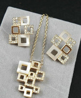Fashion shell necklace and earring - Fashion Design K Gold Plated Shell amp Rhinestones Geometry Frame Necklace and Earrings Set FREE SHI
