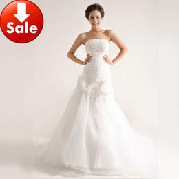 Wholesale Cheap White Strapless Oganza Ruffles Mermaid Court Train Wedding Dress