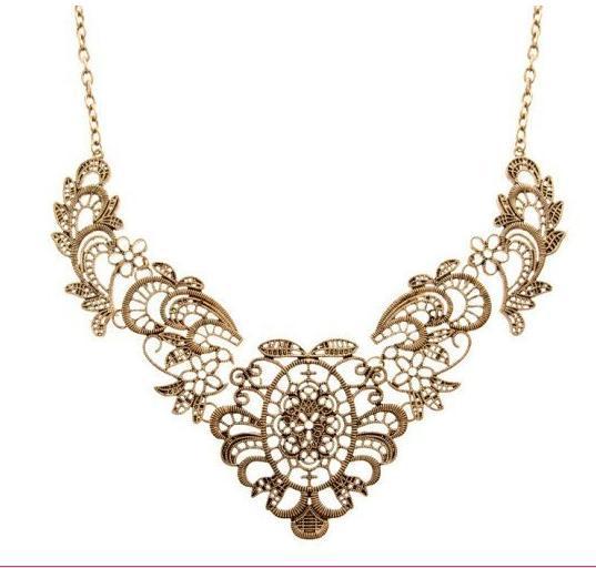 Encaje de flores collar Vintage parte collar Retro collar de cadena Popular Gargantillas Colgante collar