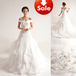 Wholesale 2013 Perfect White Off shoulder Oganza Appliques Beads A line Ruffles Chapel Train Wedding Dress