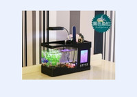 Wholesale Newest Mini USB LCD Desktop Lamp Light Fish Tank Aquarium LED Clock LED Clock Pen Holder