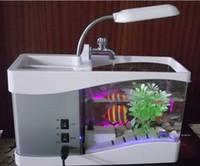 Wholesale High quality Portable USB LCD Desktop Lamp Light FishTank Aquarium LED Clock LED Clock Pen Holder