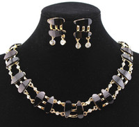 black bead necklace set - PN1203319 Hot Sale Resin Beads Necklace Set Black Color Gold Plated Clear Crystal Top Elegant Party