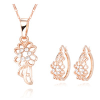 Bracelet,Earrings & Necklace   Fashion Diamond Flower Lovely Pendant Necklace + Earrings Sets New CC Gold Fashion Jewelry 10sets