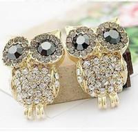 Wholesale Has been in Fashion Earrings Rhinestones Owl Earrings