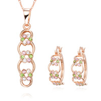 Bracelet,Earrings & Necklace   New Fashion Diamond Flower Link Pendant Necklace + Earrings Sets CC Gold Jewelry 10sets Hot 10sets