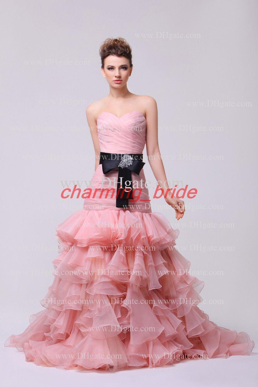 Peach Mermaid Sweetheart Black Bow Sash Ruffles Wedding Dresses ...