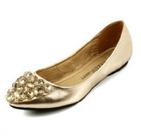 Wholesale Beautiful Gloden Flat Dress Shoes Pointed Shoes Crystal Diamond Cute Lady Shoes