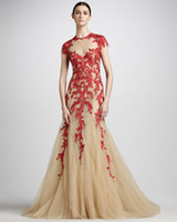 champagne tulle lace prom dress - 2014 Hot Sexy Champagne Red Lace Zuhair Murad Mermaid Evening Dresses Backless Tulle Prom Dresses