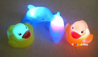Unisex Bath China (Mainland) Baby Bath Bathing Funny LED Flashing Toy Rubber 2PCS Duck and 2PCS Dolphin