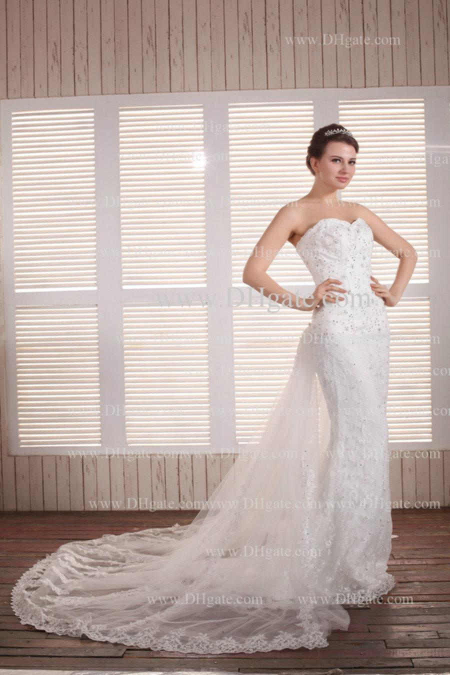 Straight Wedding Gowns With Detachable Trains - Expensive Wedding ...