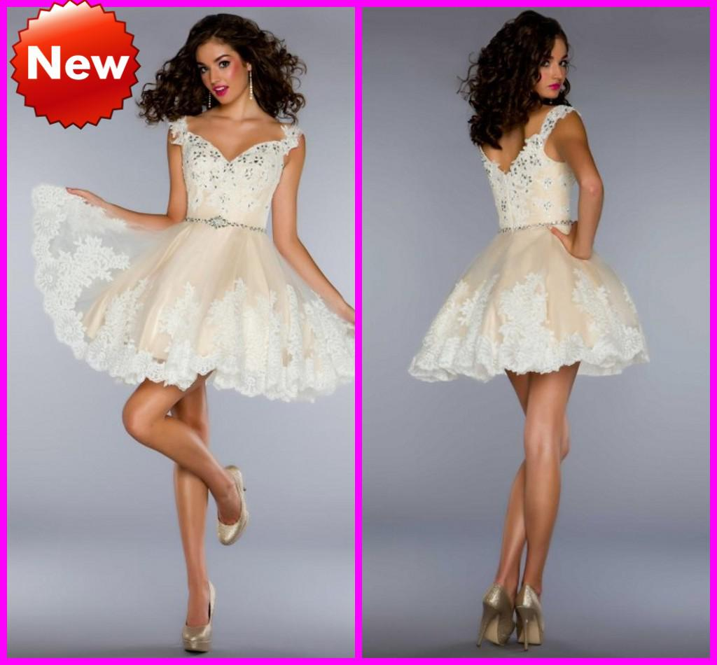 Ball Gown Short Prom Dresses Cap Sleeves White Appliques Champagne ...
