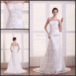 Wholesale Inexpensive strapless column satin lace lace up floor length garden wedding dress wd13