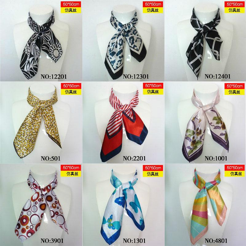 Wholesale  Fashion Small womens scarf silk scarves mutil style 50cm  Small Neck Scarves Women