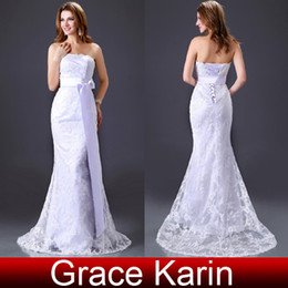 Wholesale Grace Karin Sexy Strapless Lace Wedding Dress Mermaid Bridal Gown With Long Belt CL2527