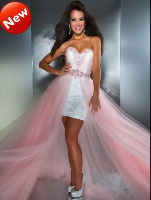 Pink High Low Prom Dresses Shiny White Sequined Short Skirt Beaded ...