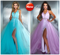 Reference Images V-Neck Tulle Lavender Aqua Sexy Prom Dresses White Lace Shiny Beaded Sequins Crystals Front Slit Evening Pageant