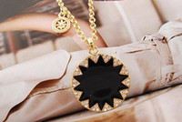 Wholesale New Arrival Golden Metal Black Enamel Charming Rhinestone Sunflower Pendant Necklace