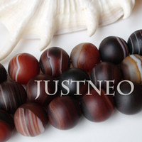 Wholesale 10mm through drilled matte banded brown round ball agate beads AAA semi precious gemstone loose bead