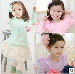 Wholesale 2013 children girl new fashion spring long sleeve lace Under Shirt T shirt SZ87 edison168