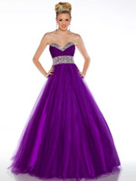 Wholesale Hot Sale Strapless Beaded Floor length Tulle A line Sweetheart Purple A line Floor length evening party gown prom dress