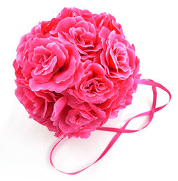 Wholesale Wholesales Wedding Decorations Supplies Silk Kissing Pomander Rose Flowers Balls Wedding bouquet