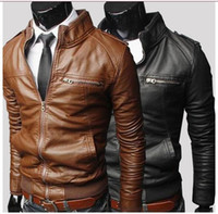Wholesale men s coat fashion transverse zipper Brief paragraph Cultivate one s morality leather stand collar