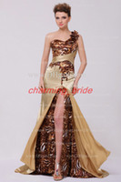 Wholesale 2013 Sexy New Arrival Gold Leopard Print Long Prom Dresses High Low One Shoulder Silk Like Satin