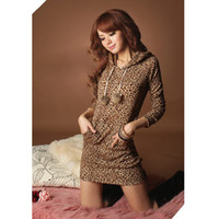 Wholesale Fashion Women s Sexy Leopard Hoodie Mini Dress Sweatshirts double breasted for Women Plus size G0124