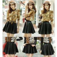 Wholesale Women Lady Girl Leather Flared Sexy Short Mini Pleated Skirt Black Dropshipping G0117