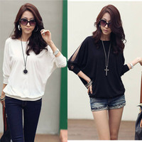 Crew Neck womens tops - New Womens Cotton Loose Top Dolman Batwing Lace Long Sleeve Blouse Shirts for Women G0129