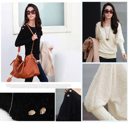Wholesale Women s Lady Batwing Sleeves Round Neck Loose Pullover Knitwear Tops T shirt White Black G0113