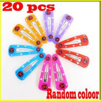 Wholesale 60pcs Ladybird Snap Hair Head Clips With Pad Bows Girls Prong Pin Barrette Baby