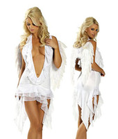 Wholesale Heavenly Angel Halter Dress with Wings Sexy Lingerie Halloween Party costume cosplay
