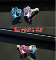 Wholesale Bling heart Diamond earphone ear cap Plug Anti dust Stopper cover for Iphone G S