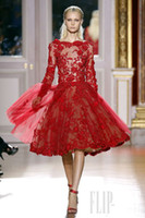 Wholesale 2013 Sexy Zuhair Murad Long Sleeves Red Cocktail Dresses Tulle Applique Beaded Evening Dresses ZH106